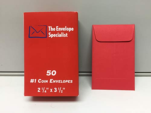 #1 Coin Envelope RED 2 1/4 x 3 1/2 inches 50 per Box