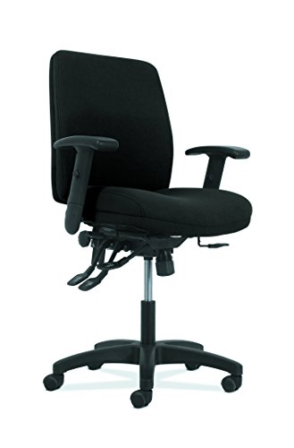 HON Network Mid-Back Task Chair - Asynchronous Computer Chair for Office Desk, Black Fabric (HVL282.A2) (Control Tilt Tension)
