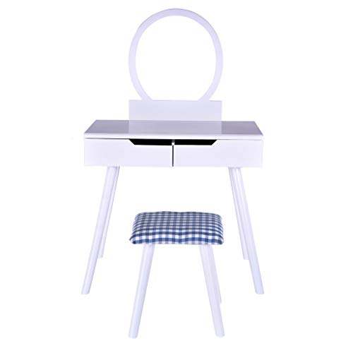 Vanity Make-up Table, SIN+MON Simple Style Dressing Desk with Round Mirror,2 Large Sliding Drawers Divider Organizers for Storage,Writing Desk with Cushioned Stool【Ship from USA】 (White)