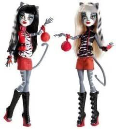 Pack 2 Muñecas Monster High - Hermanas gemelas (Mellizas Felinas) + Complementos: Amazon.es: Juguetes y juegos