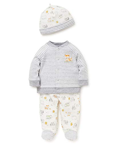 Little Me Baby Boys Cardigan Set, Woodland Medium Heather Grey/Multi, 9 Months