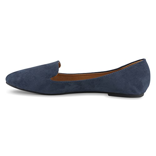 Suede Faux Navy Slipper Smoking Twisted Flats Womens 5Evq7Zp