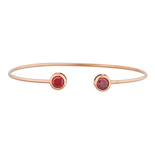 2 Ct Garnet Bracelet - 2 Ct CZ Garnet Round Bezel Bangle Bracelet 14Kt Rose Gold Plated Over .925 Sterling Silver