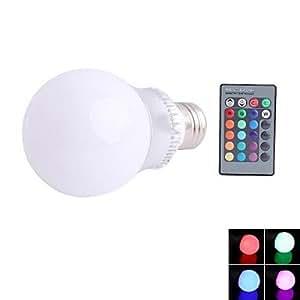 Leedfsw E27 3W LED Q2 RGB Color Light Bulb with Remote Control (85~265V)