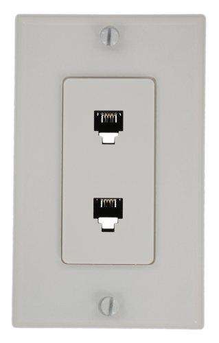 Leviton 40144-W Decora Telephone Wall Jack Assembly, White