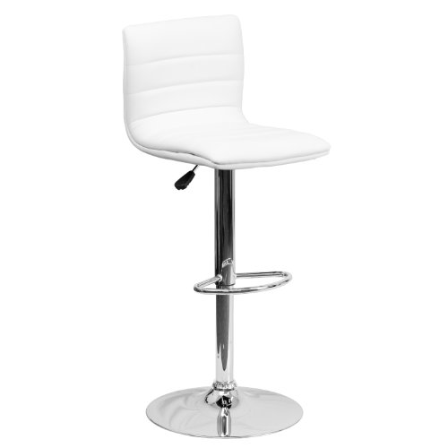 Flash Furniture Contemporary White Vinyl Adjustable Height Barstool with Horizontal Stitch Back and Chrome Base (Stools White)