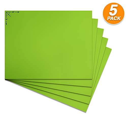 Emraw Poster Board Lightweight Craft Backing Boards for Presentations Office Sign Blank Painting Board Smooth Surface Poster Sheets for School Pack of 5 (Fluorescent Green)