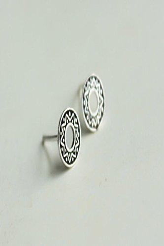 s925 Silver Stud Earrings earings Dangler Eardrop Women Girls Elegant Retro Thai Silver Sun Totem Mysterious Mermaid by KGELE Earrings