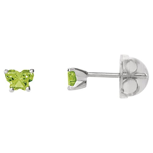 Little Girl's 14k White Gold August Lime CZ Imitation Birthstone Butterfly Earrings, Safety Back by The Men's Jewelry Store (for KIDS)