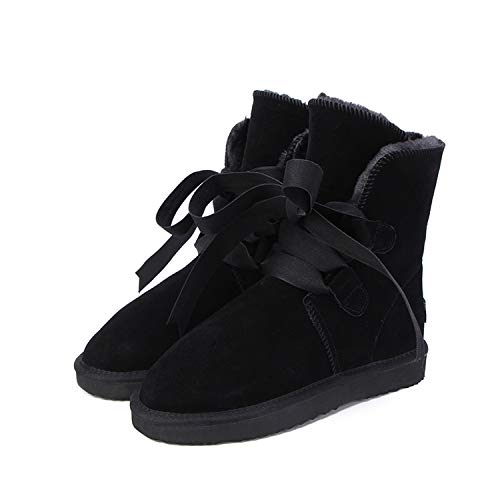 New Fashion Genuine Leather Winter Boots Warm 12 Colour Shoes US 3-13,Black,6