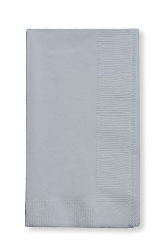 Creative Converting Touch of Color 2-Ply 50 Count Paper Dinner Napkins, Shimmering Silver