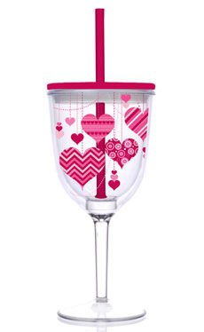 Slant Valentine Pink and Red Heart 13-oz Double-Wall Wine Glass with Straw (Set of 2)
