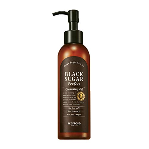 SKIN FOOD Black Sugar Perfect Cleansing Oil 6.76 fl.oz. (200ml) - Black Sugar & Rice Wine Contained Exfoliating Gentle Makup Remover Cleansing Oil, Skin Smooth and Nourishing Effect
