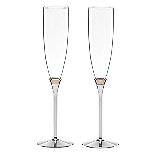Kate Spade New York Rosy Glow 2-Piece Champagne Toasting Flute Set, Silver-plated Metal and Crystal ()