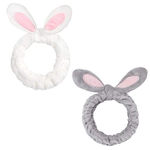 Folora 2pcs Women Girls Fashion Plush Bunny Ear Headbands Cute Elastic Coral Fleece Headwrap for Washing Face Makeup…