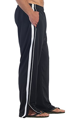 Gioberti Men's Athletic Track Pants, Black White, Large (Black Pants Track)