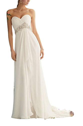 Abendkleid GEORGE Taille BRIDE Strass Chiffon Weiß Steinen mit hohe wwH0P