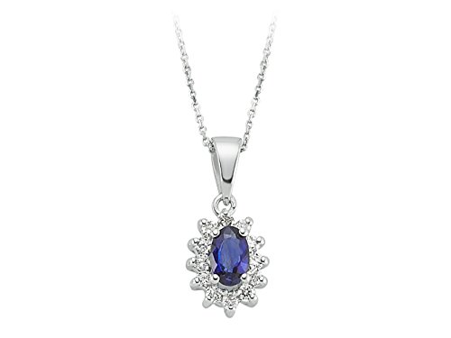 Pendentif Saphir Oval et Diamants-Femme- or Blanc 223P0014