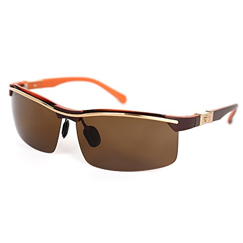 DOELES Polarized Sunglasses for Men/Women Mens Sports Driving Sunglasses TR Frame UV Protection(Gold, Brown)