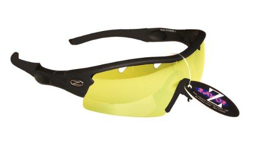 Rayzor professionnel léger UV400 Noir Sport Wrap cricket Lunettes de soleil, avec un 1 Piece ventilé Lumière Améliorer Clair Jaune anti-reflet lentille.
