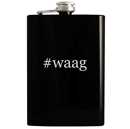 #waag - 8oz Hashtag Hip Drinking Alcohol Flask, Black -