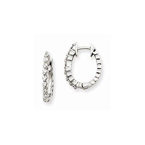 14kw A Diamond Hinged Hoop Earrings