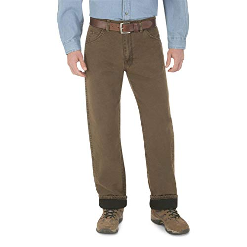 Wrangler Men's Rugged Wear Woodland Thermal Jean ,Night Brown,36x32 ()