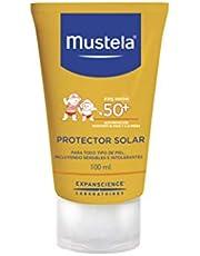 Mustela, Protector Solar Fluido Corporal FPS 50+, para cuerpo de Bebés y niños, Protege la piel de los rayos UVB y UVA, Con ingredientes de origen natural, 100 ml