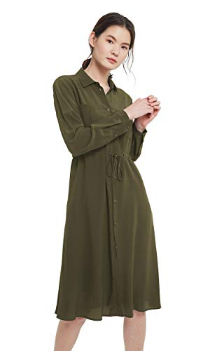 LilySilk Silk Shirt Dress for Women Buttons Front Basic Long Sleeve Vintage Tunic Work Formal Olive-Green Large