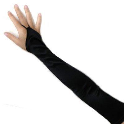 SACAS Long Fingerless Satin Gloves in Black One (Fingerless Bridal Gloves)