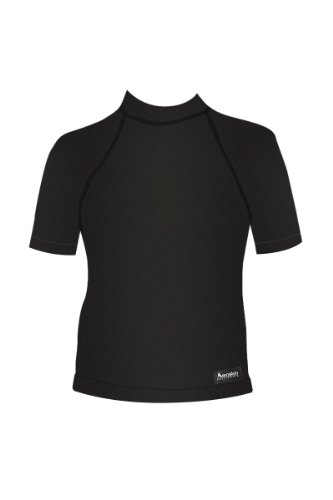 Aeroskin  Short Sleeve Shirt with Color Accent, Grippers and Fuzzy Collar (Black, Large)