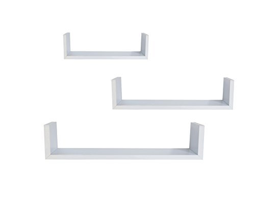 3 Floating U Shelves - White