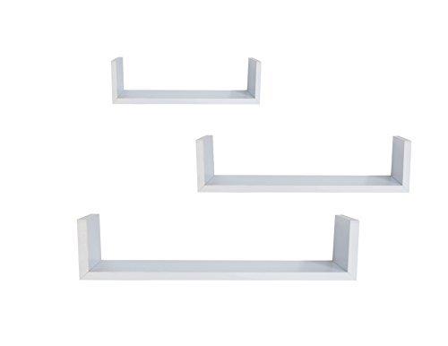 EWEI'S Homewares 3 Floating U Shelves - White by EWEI'S HomeWares