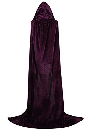 Tutu Dreams Adult Death Hooded Cloak Robe Costumes Velvet Full Length Halloween Purple (Purple)