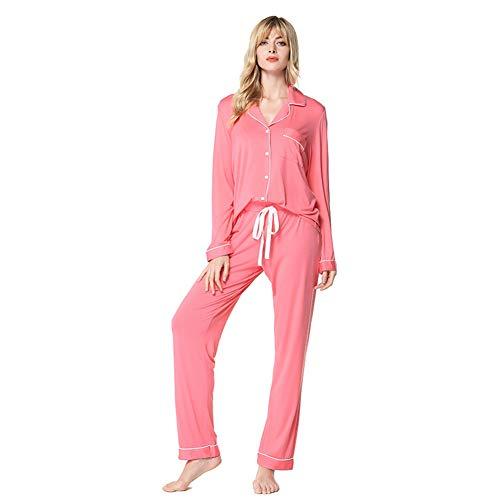 Solapa Piezas Dos Pantalones 03 Pijama De Elástico Cómodo Ropa Manga Conjunto Transpirable Larga Zanzan Casera Modell Señora 0F6zxTw