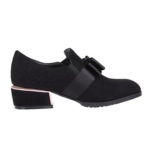 AllhqFashion Damen Niedriger Absatz Rein Ziehen auf Mattglasbirne Spitz Zehe Pumps Schuhe Schwarz