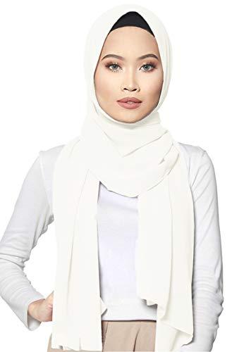 ❤️ SAFIYA - Hijab for muslim women I Long headscarf islamic scarf turban pashmina shawl cap underscarf pins I Chiffon I White - 75x180cm
