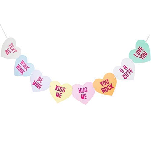 Bobee Conversation Candy Hearts Banner, eight Valentines day heart sayings pre-strung garland decorations, six feet long -