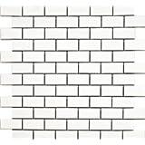 Gloss White Brickbond Tile 355x330x5.2mm, Porcelain White Toto Brick Mosaic Tiles, Per Sheet