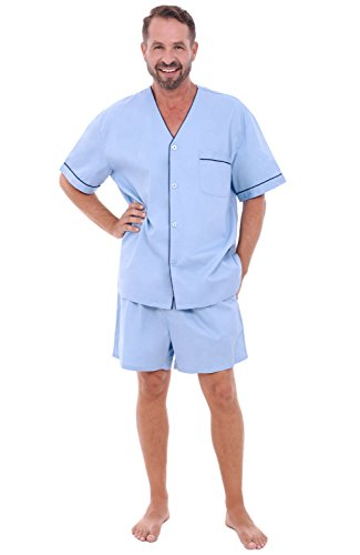 Alexander Del Rossa Mens Cotton Pajamas, Short V-Neck Woven Pj Set, XL Light Blue (A0698LBLXL)