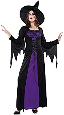 Fyasa 706139-t04 largo bruja disfraz, morado, Large: Amazon.es ...