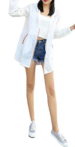Winwinus Women's Plus-size Floral Printed Long-Sleeve Beach Blazer White XS