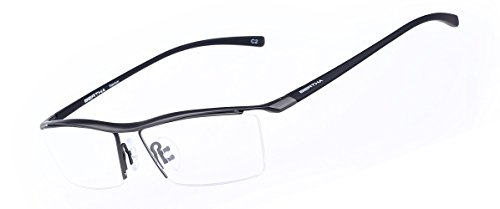 Bertha Men Z Pure Titanium Semi-rimless Eyeglasses Business Optical Frame 8189 (Gun - Glasses Prescription