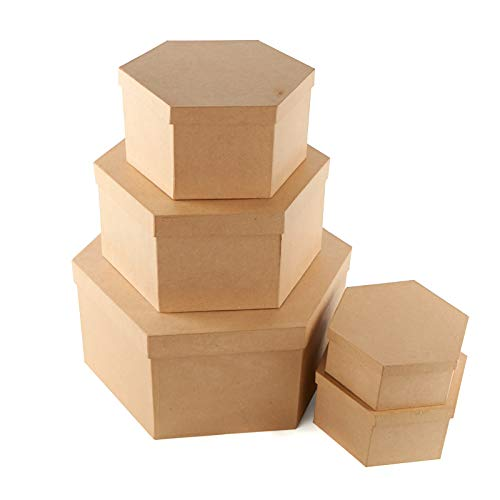 Factory Direct Craft Paper Mache Hexagon Hat Box | Set of 5