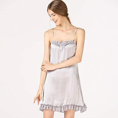 WXNLEAI Sujetador de seda de la tentación del amor honda de las mujeres camisón de seda