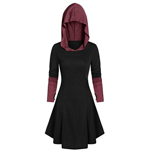 Halloween City Costumes Coupons (aihihe Womens Halloween Costumes Hoodies Dresses Long Sleeve High Low Medieval Dress Hooded Cloak Dress)
