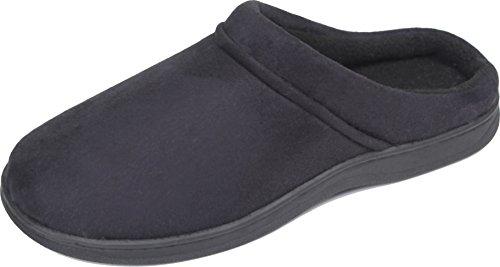 luxehome-mens-slip-on-indoor-outdoor-fleece-scuffs-slipper-10-11-us-dark-blue
