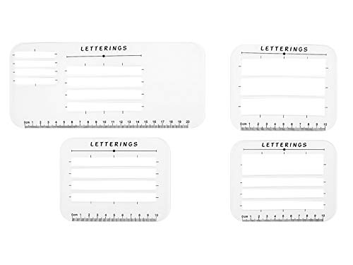 Calligraphy Stencil and Ruler Template- 4 Piece Address and Envelope Guide | Helps with Writing Straight Lines for Calligraphy, Wedding Invitations & Baby Shower Invitations