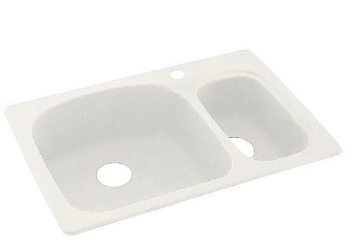 Swanstone KS03322LS.059 Solid Surface 1-Hole Drop in Double-Bowl Kitchen Sink, 33-in L X 22-in H X 9-in H, Tahiti Ivory