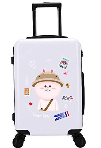 24インチスーツケース小さな新鮮な大学生のトロリーユニバーサルホイールスーツケース (Color : ホワイト)   B07MCSTG9F